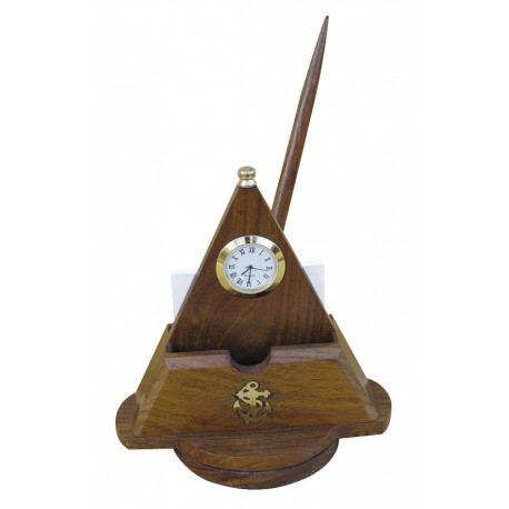 Desk tidy with clock, turnable, wood/brass, including wooden pen