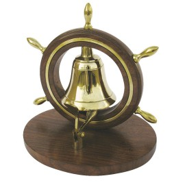 Desk bell in ship wheel, brass/wood, 12,5x10x13cm