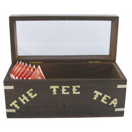 Teabox, wood with glass lid, 18x8x9cm, for single packed teabags