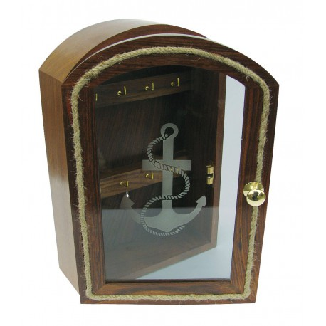 Key box, wood with glass front with anchor design, 20x30x8/10cm