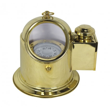 Life boat compass, brass, H: 19,5cm