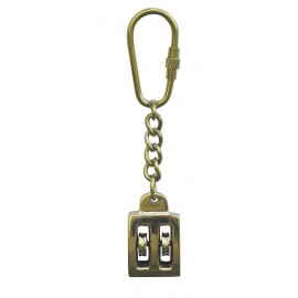 Keyring - Pully, double, brass