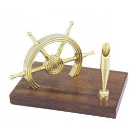 Penholder + Wheel on base, brass/wood, H: 10,5cm, 15x10cm