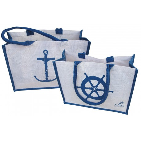 Coast/shopping bag, jute, white/blue, 41x30x15cm