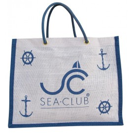 SEA-CLUB jute bag, white/blue, 36x28x12cm