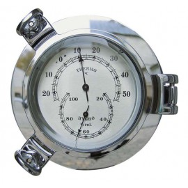 Thermo- & Hygrometer chromed porthole