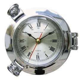 Clock in chromed porthole