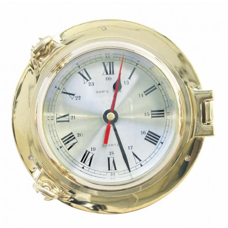 Clock in brass porthole