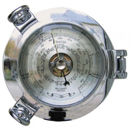 Barometer in chromed porthole