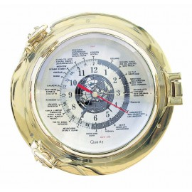 World Time Clock in brass porthole
