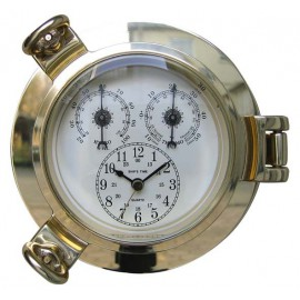 Clock, Thermo- & Hygrometer in brass porthole