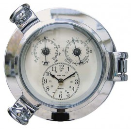 Clock, Thermo- & Hygrometer in chromed porthole