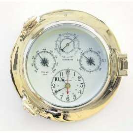 Clock, Baro-, Thermo- & Hygrometer in brass porthole