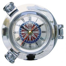 Clock with compass rose dial in chromed porthole