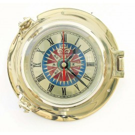 Clock with compass rose dial in brass porthole