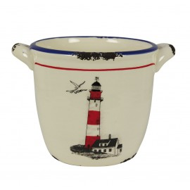Pot with lighthouse design