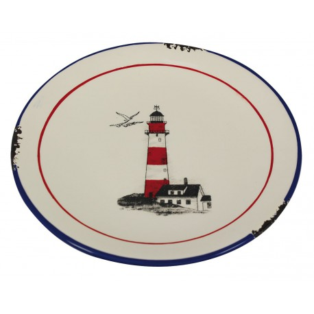 Plate with lighthouse design