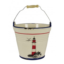 Bucket with lighthouse design