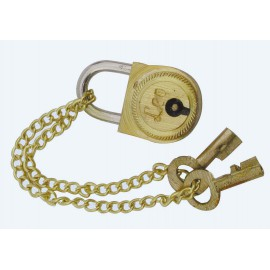Small lock for teasure chests, brass, 2,5cm