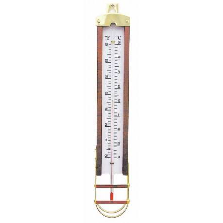Thermometer, wood/brass, 5,5x34cm