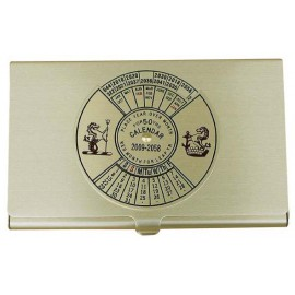 Business Card Box with calendar, brass, lacquered, 9,3x6x0,6cm