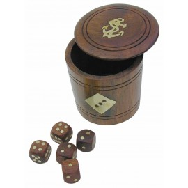 5 wooden dice in a wooden mug with lid