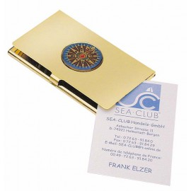 Business Card Box - Compass Rose, brass, lacquered, 9,5x5,5cm