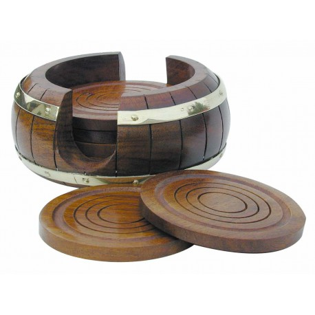 6 Coasters in stand in barrel shape