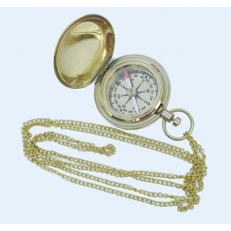 Compass in shape of pocket clock with chain