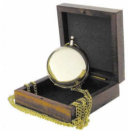Compass in shape of pocket clock with chain, brass