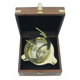 Sundial compass in wooden box