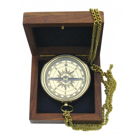 Compass with anchor engraved in wooden box