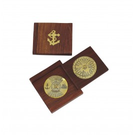 Folding more-years-calendar/world timer, brass/wood, 7,5x7/13x1,2cm