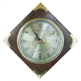 Clock in wood with brass corners, Ø: 10cm