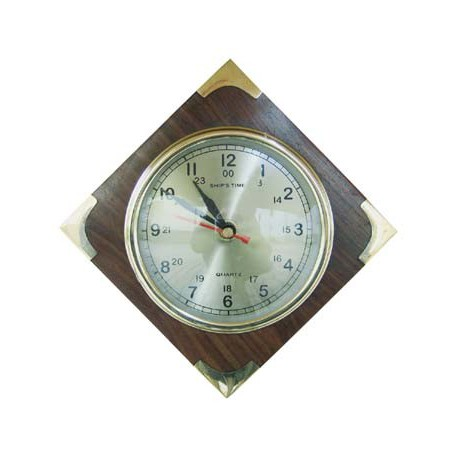 Clock in wood with brass corners